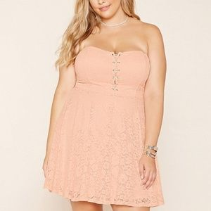 Forever 21 Plus Pink Strapless Corset Lace Dress